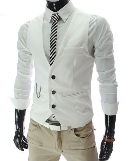 2019 New Arrival Dress Vests For Men Slim Fit Mens Suit Vest Male Waistcoat Gilet Homme Casual Sleeveless Formal Business Jacket 2