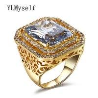 หรูหราผู้หญิงแหวนที่มีขนาดใหญ่สี่เหลี่ยมผืนผ้าหินทองและสีขาวแผ่นการออกแบบขนาดใหญ่อิน