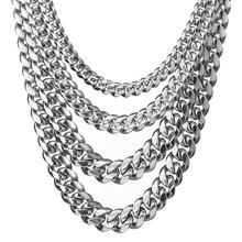 Granny Chic 8-18MM Wide Stainless Steel Miami Cuban Curb Chain Mens Womens Silver Necklace Or Bracelet Jewelry 7-40