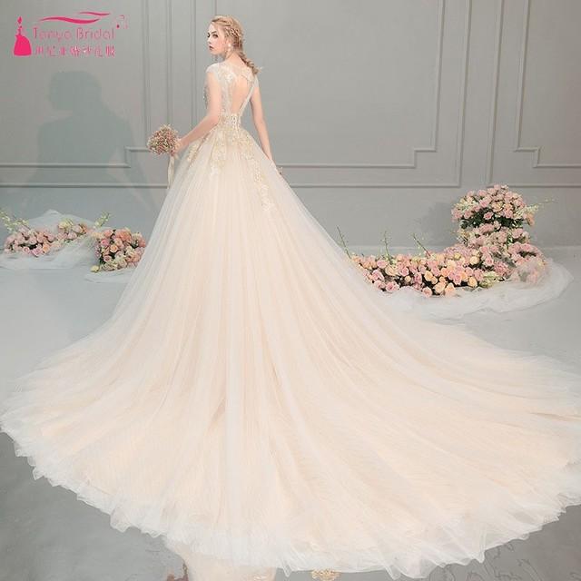 TANYA BRIDAL Luxury Sleeveless Wedding Dresses New 2019 Champagne Off-shoulder Princess Modest Bridal Dress Gown  JQ330