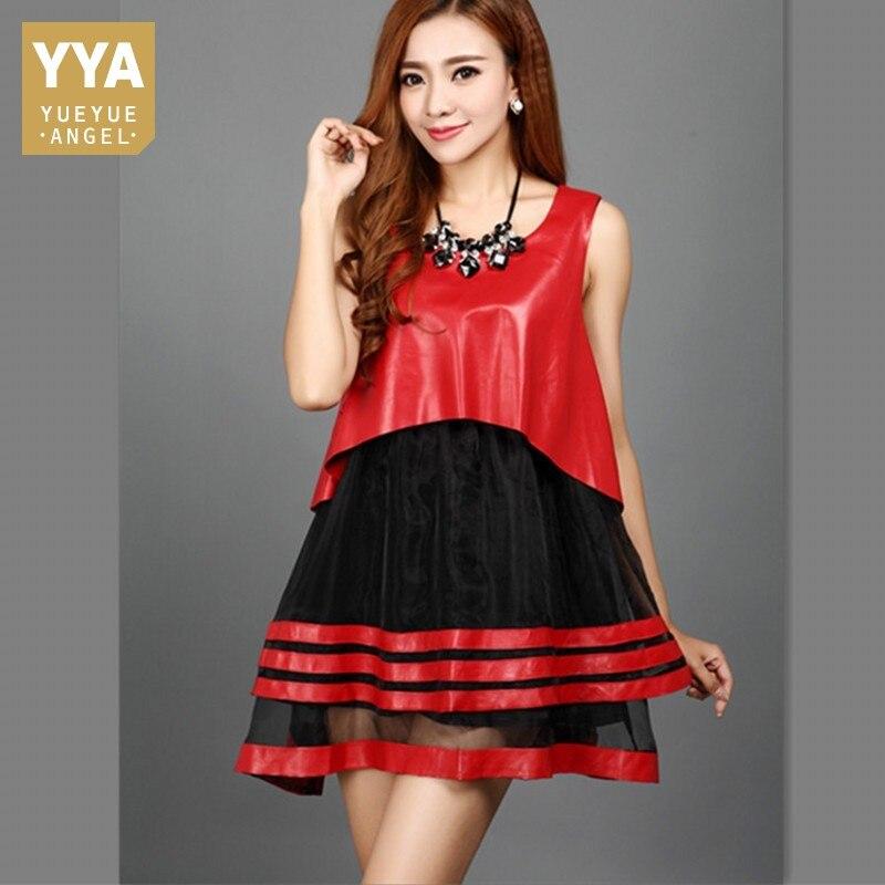 100% Wahr Frühling Neue Echt Leder Chiffon Patchwork Kleid Faux Zwei Stück Süße Oansatz Rot Echtem Schaffell Kleider Party Robe Femme
