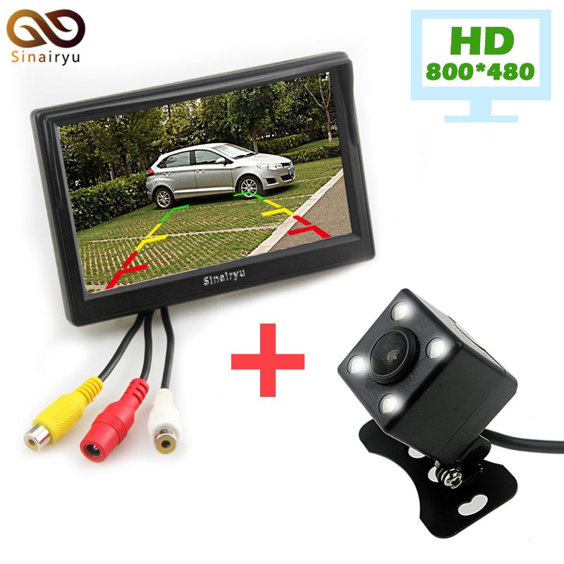 5 Inch 800*480 TFT LCD Car Parking Rear View Monitor with Car Rear/Front/Side View Camera 4 LED Lights 2 Ways Video Input DC 12V