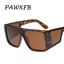 PAWXFB Newest Oversized Sunglasses Goggles Women Men Square Mirror Leopard Fashion Big Frame Eyeglasses Oculos de sol