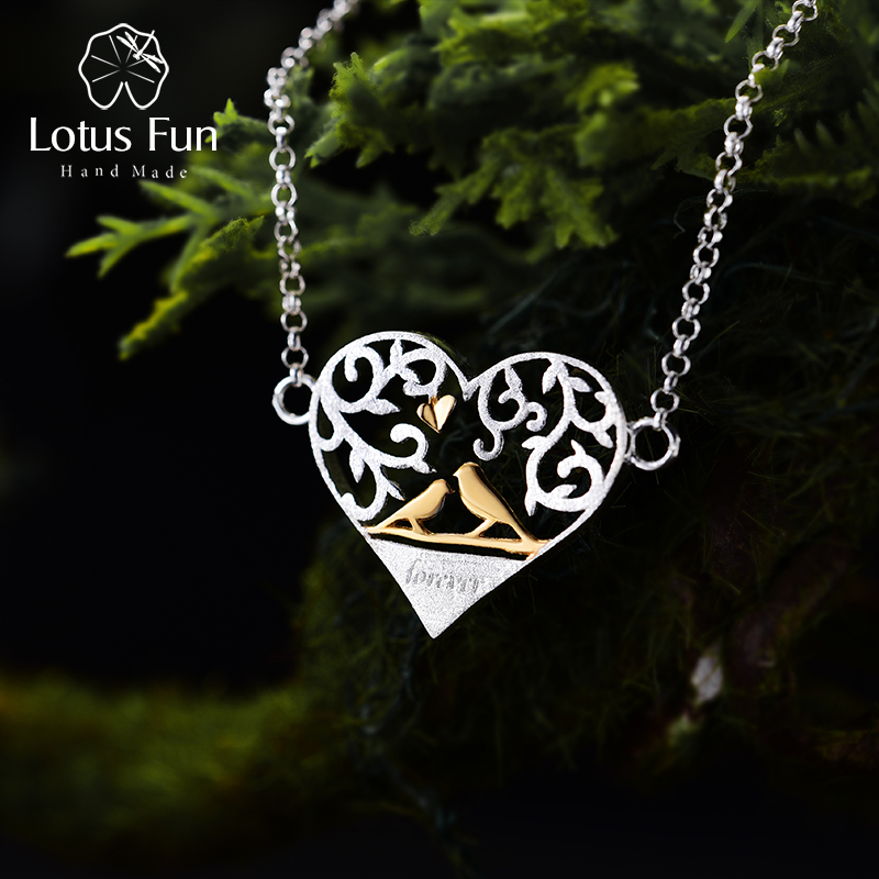 Lotus Fun Real 925 Sterling Silver Handmade Fine Jewelry Romantic Bird in Love Heart Shape Bracelet for Women женские сапоги in heart bird 6301 2014
