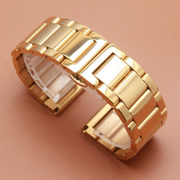 Yellow Gold Color Watchbands Strap Bracelets For Luxury Brand Watches Men Accessories 18mm 20mm 21mm 22mm