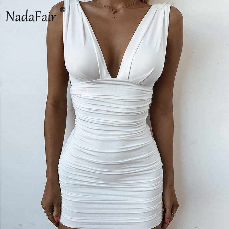 bb17514efc839 Detail Feedback Questions about Nadafair bandage dress women deep v neck  sexy club party bodycon dress 2019 backless ruched wrap mini summer dress  vestidos ...