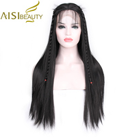 AISI BEAUTY 26 inches Long Straight Black Lace Front Wig Synthetic Wigs for Women With Baby Hair Pink High Resistant Fiber
