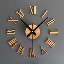 3d diy home decor large roman mirror fashion modern quartz clocks living room diy wall clock