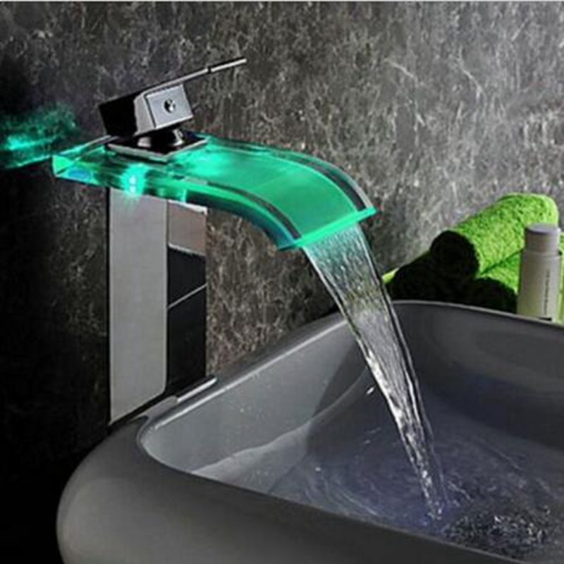 Uythner Modern LED Color Changing Glass Waterfall Spout Bathroom Basin Faucet Vanity Mixer Tap Chrome led bathroom sink faucet basin mixer taps 3 color changing glass waterfall spout temperature sensor polished s 007a