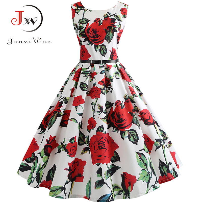 New Women Vintage Dress Plus Size Floral Print Pin Up Summer Dresses Retro 50s Rockabilly Party Sundress Feminino Vestidos