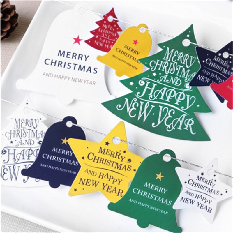 1 Sheet Decorative Merry Christmas Paper Gift Tags Label Hanging Cards DIY Home Party Decorations Christmas Accessories