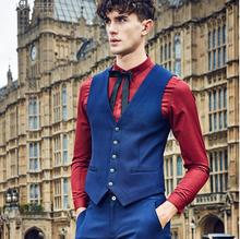 Handsome men suit vest royal blue high quality and chic style men's wedding the groom's best man suit vest