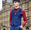 Handsome men suit vest royal blue high quality and chic style men's wedding the groom's best man suit vest