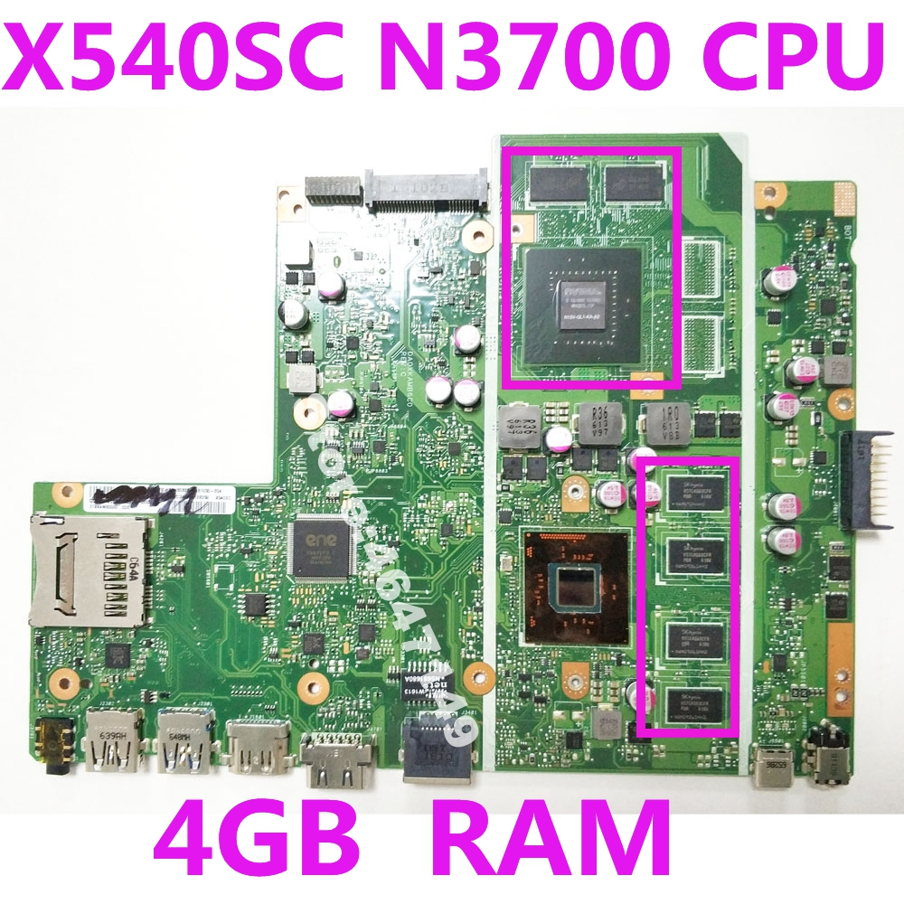 For Asus X540S X540SC Laptop Motherboard With N3700 CPU 4GB Ram Mainboard