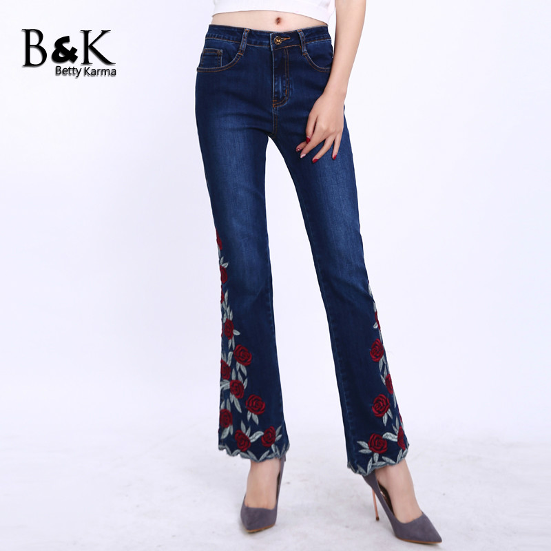 Fashion Embroidery Jeans Woman with Elastic Denim Jeans Flare Pants High Quality Roses Flowers Plus Size 36 Push Up Jeans Femme