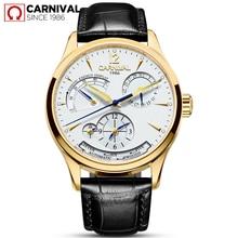 2017 TopBrand Luxury CARNIVAL Men's Fashion Leather Automatic Mechanical Watch Waterproof Calendar Male Watch Relogio Masculino