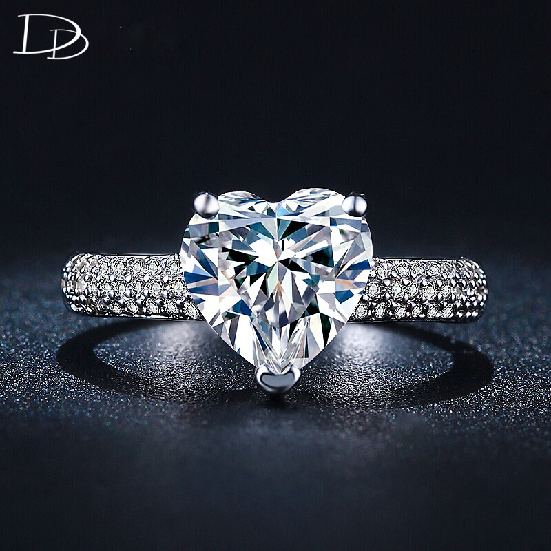 stor hjärta sten 3 karat kristall smycken förlovning vigselringar - Märkessmycken - Foto 4
