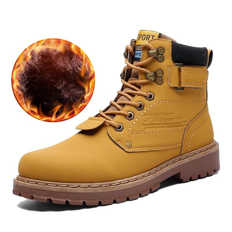 LABO Mens Winter Waterproof Snow Boots 7014-BROWN-6.5