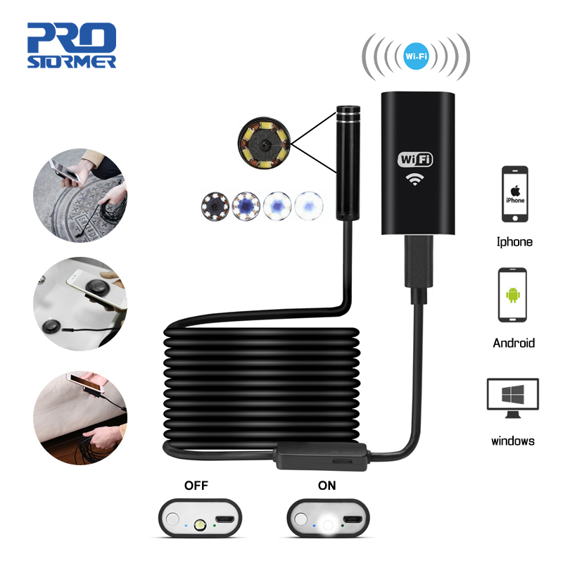 PROSTORMER Wifi эндоскоп камера 720P жесткий/софтпроводный бороскоп для iphone Android 1/2/3. 5/5/7/10 м Водонепроницаемая камера 5