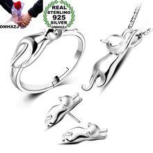OMHXZJ Wholesale Personality Fashion OL Woman Girl Silver Cat 925 Sterling Stud Earrings+Ring+Necklace Jewelry Set SE22