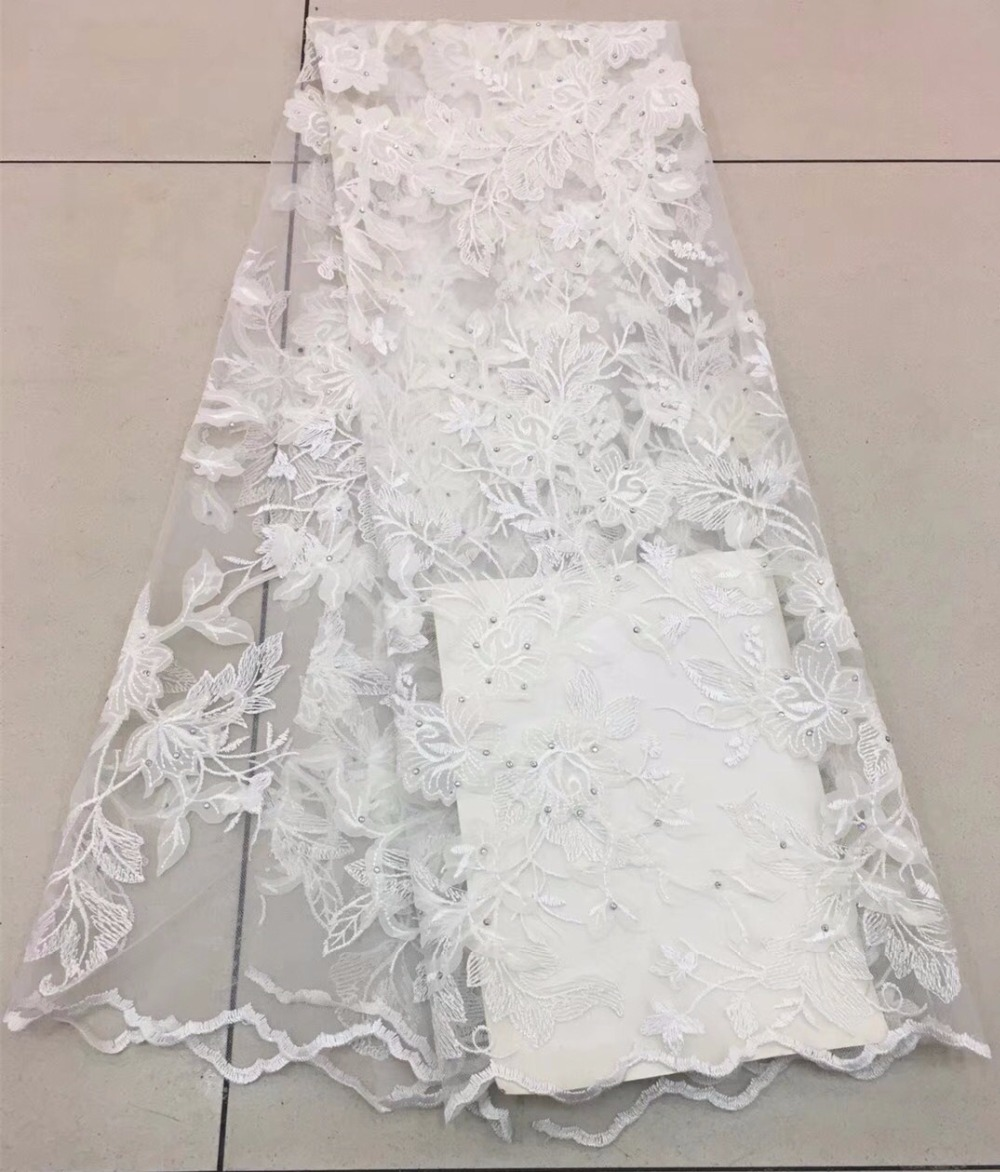 Fashion African Lace Fabric High Quality white Lace Nigerian Lace Fabric 2018 High Quality Lace With stones 5yardsFashion African Lace Fabric High Quality white Lace Nigerian Lace Fabric 2018 High Quality Lace With stones 5yards