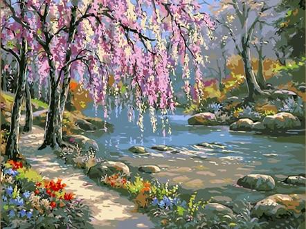 Ev ve Bahçe'ten Resim ve Hat'de Boyama By Numbers DIY Dropshipping 50x65 60x75cm pembe romantizm ve creek manzara tuval düğün dekorasyon sanat resmi hediye