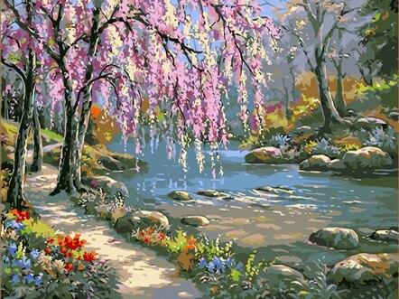 Malerei Durch Zahlen DIY Dropshipping 50x65 60x75cm Rosa romantik und creek Landschaft Leinwand Hochzeit Dekoration kunst bild Geschenk