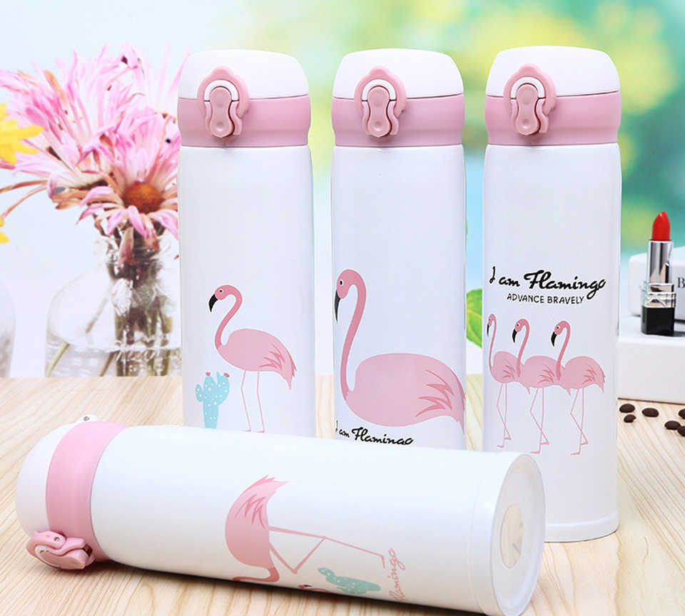 Flamingo Travel Mugs Coffee Tea Vacuum Insulated Thermal Cup Drink Bottle Thermocup Car Thermos Portable Student Insulation