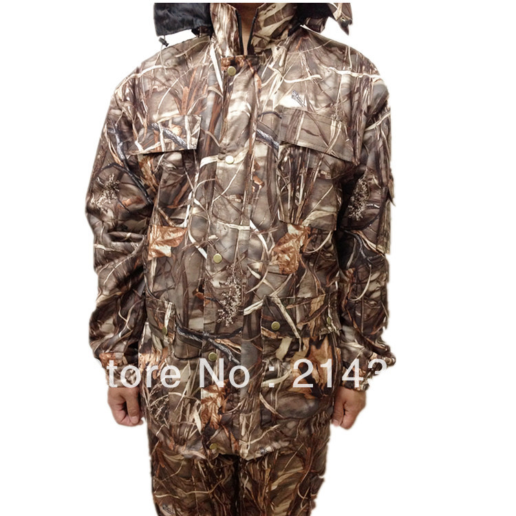 Reed Bionic Camoufalge Hunting Clothes Waterproof Camo Hunting Sets Clothing double fleece camo suits fabric jungle camouflage hunting clothing sets for hunter clothes