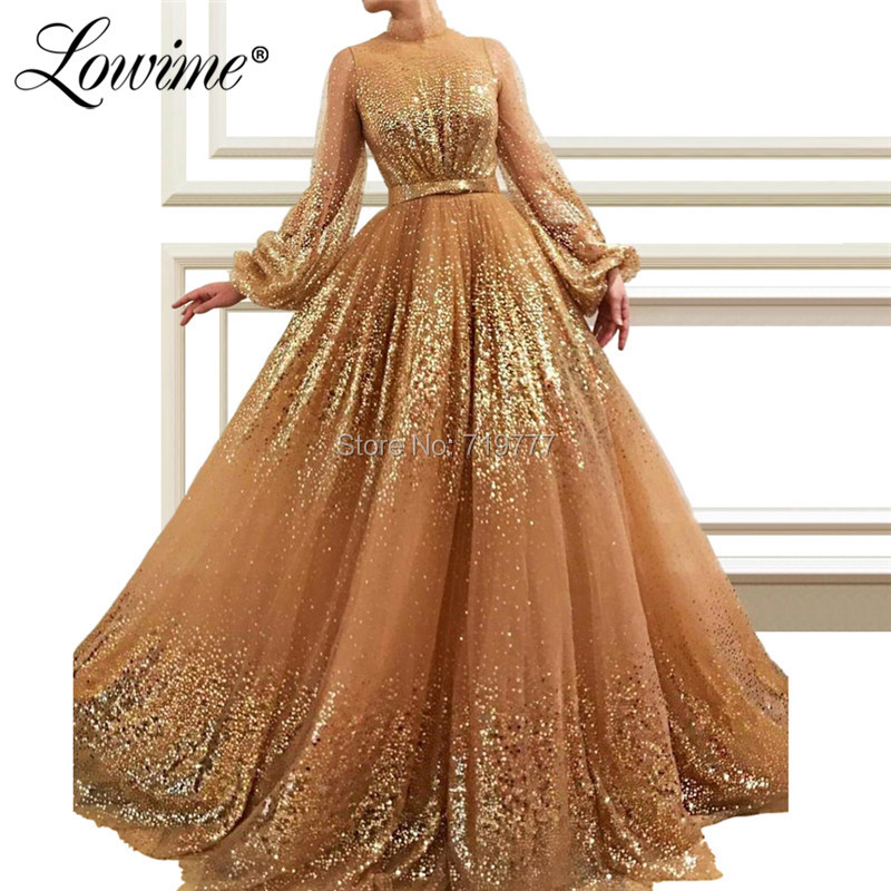 Sequined Long Sleeves Arabic Evening Dress 2019 Custom Made Dubai Islamic Prom Dresses Kaftans Saudi Arabia Wedding Party Gowns