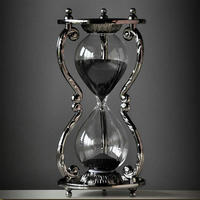 HQ 12 Constellations Zodiac BLACK SAND Fixed Sand Glass Sand Timer Clock Hourglass Home Office Decoration Tableware Gift