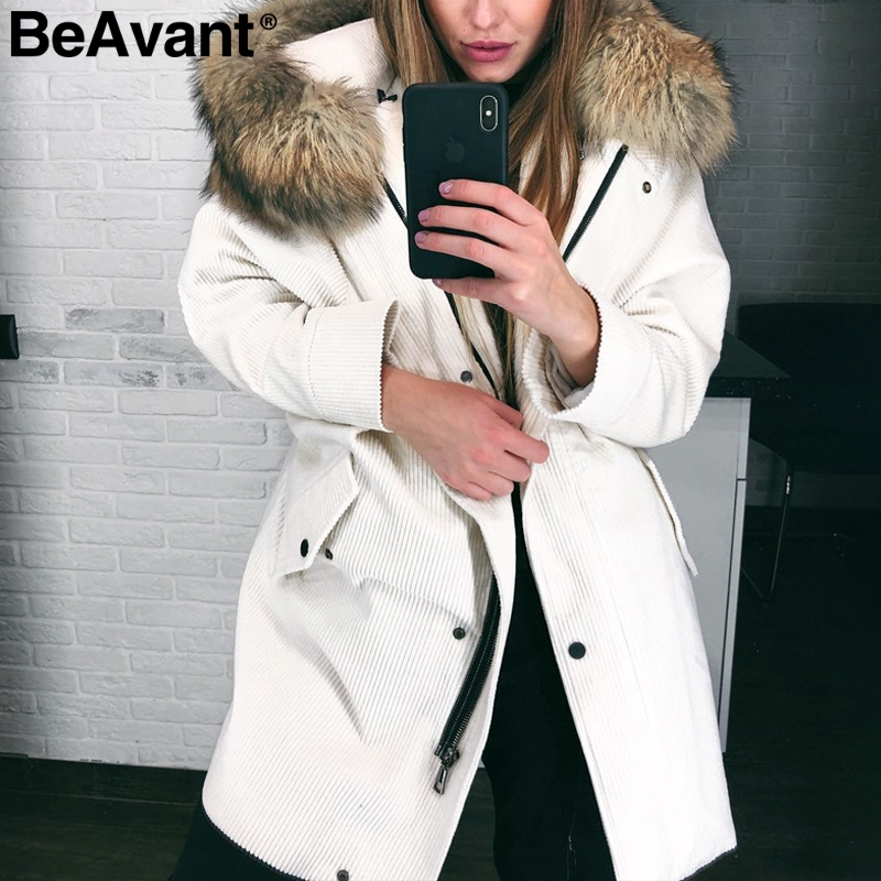 BeAvant Faux fur hooded corduroy jacket coat women Warm thick padded   parka   winter coat 2018 Streetwear pocket overcoat female