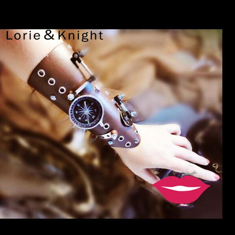 Steampunk Armband Vintage Fingerless Leather Gloves Wide Cuff Bracelet
