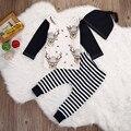 Cervos do natal Longo Tops Camiseta de Manga Longa Listrada + Calça + Hat Set Roupas Roupas de Presente de Natal 3 pcs Recém-nascidos bebê Da Menina do Menino Bonito