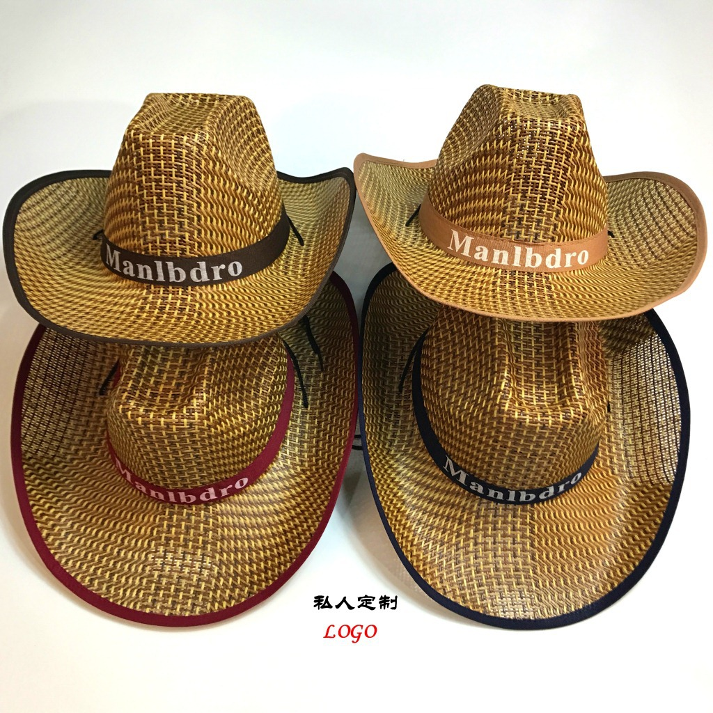 Kaguster Mariboro Cowboy Western Straw Hat Men Women Panama Wide Broad Brim Summer Man Beach Sun Hats Boater Center Cap For Rims