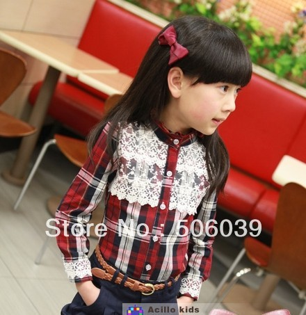 4pcs/lot free shipping British girls taste stripe lattice long sleeve shirt
