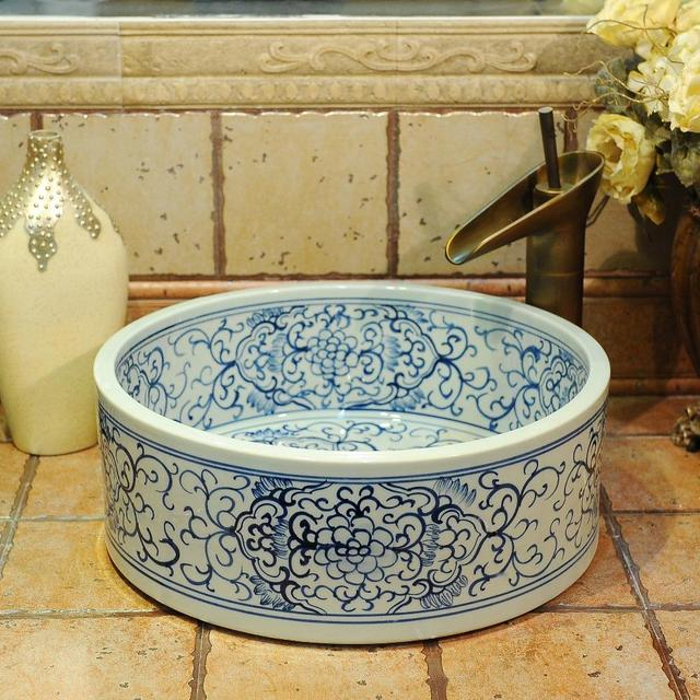 Blue And White Chinese Antique Ceramic Sink Wash Basin Counter Top Bathroom Sinks Vanity