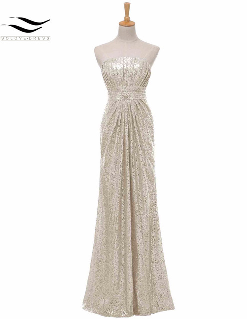 2b9d97d4fa3 Solovedress Off Shoulder Champagne Mermaid Sequined Strapless Bridesmaid  Dress 2017 Real Formal vestido dama de honra SL-B0060. US  64.86. Bridal  Gown ...