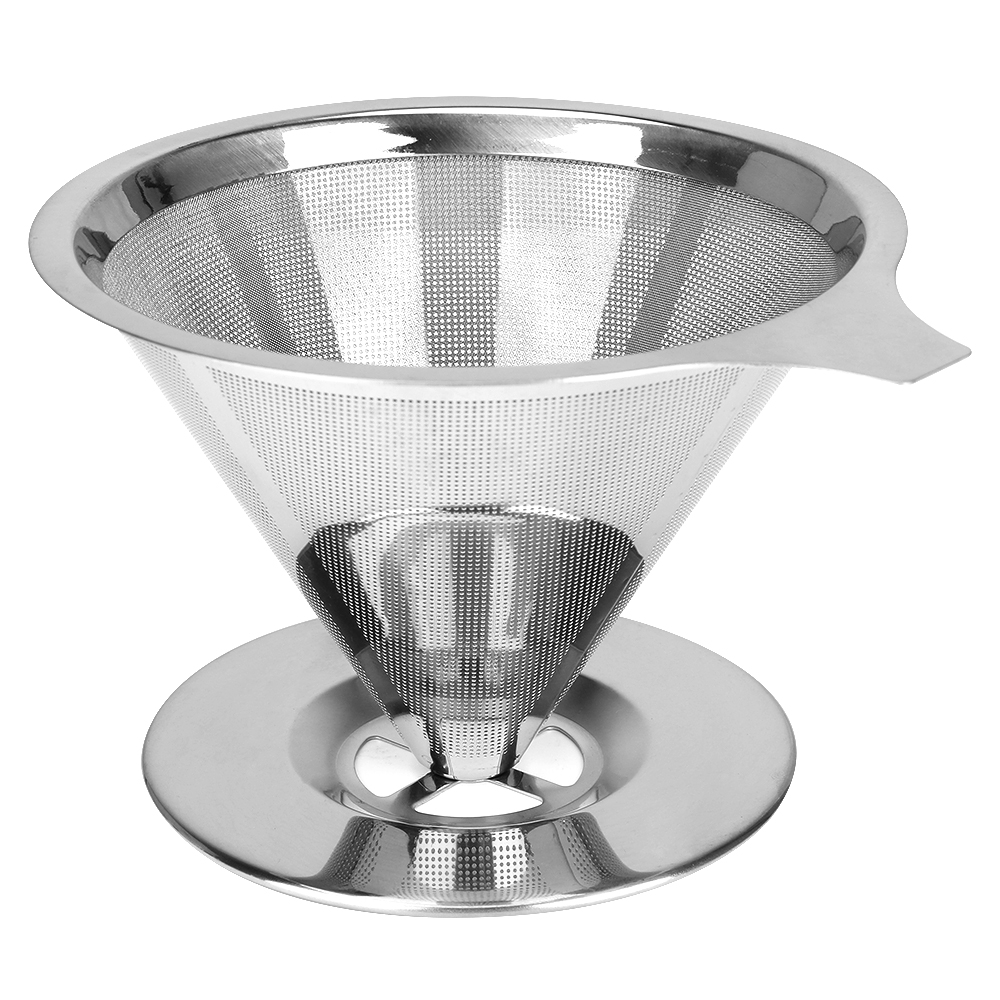 Stainless Steel Cone Coffee Filter Dripper Double Layer Mesh Coffee Tea Cone Filter Holder Infuse Reusable Kitchen Coffeeware