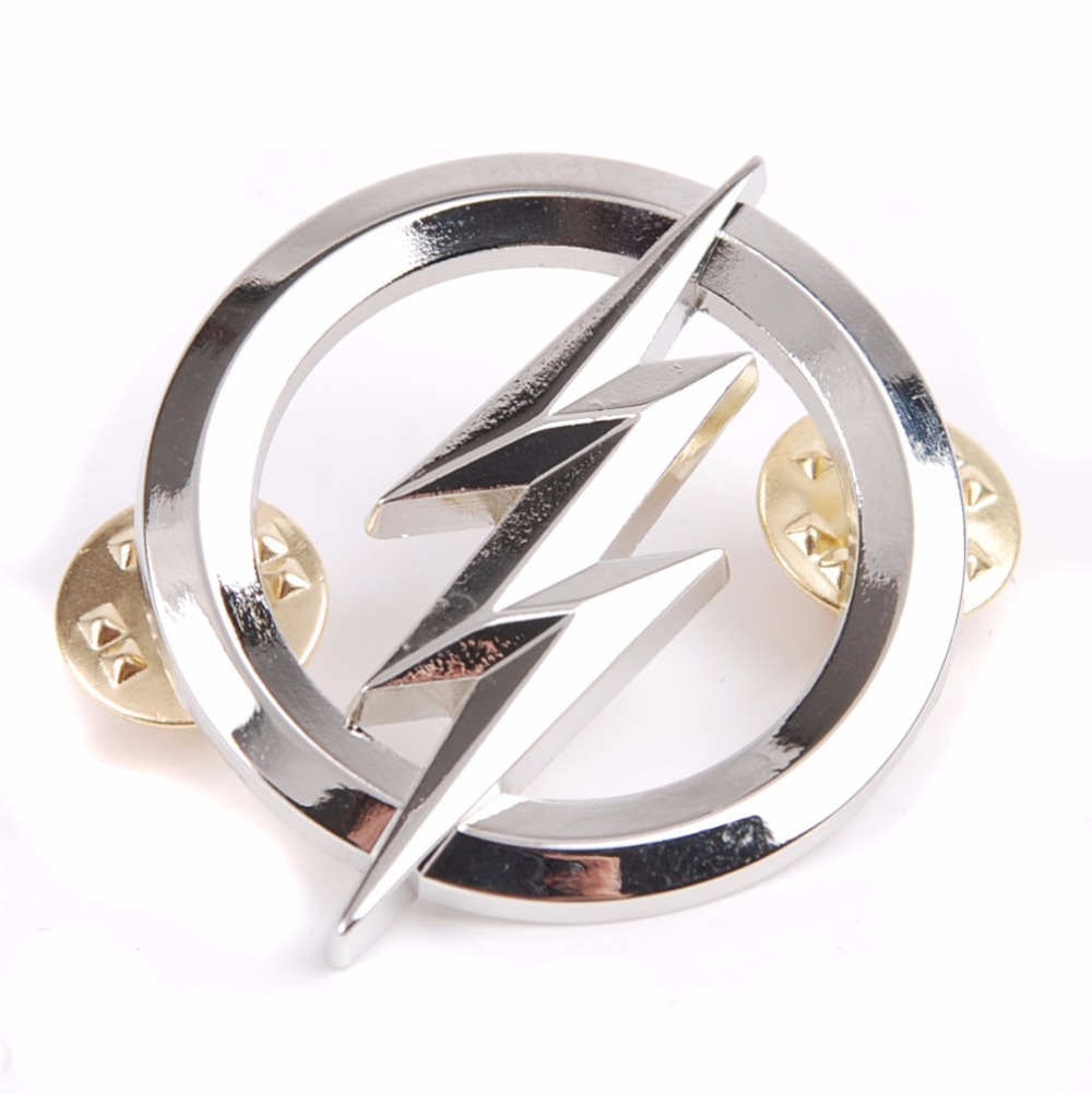 US THE FLASH METAL BADGES SILVER PERSONALITY BADGE