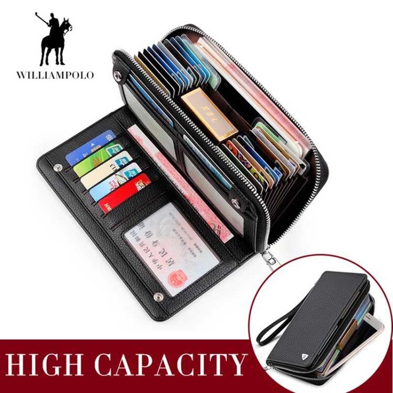 WILLIAMPOLO portefeuille porte-cartes hommes en cuir véritable pochette portefeuille Long sac à main avec bracelet sac à main pochette haute capacité