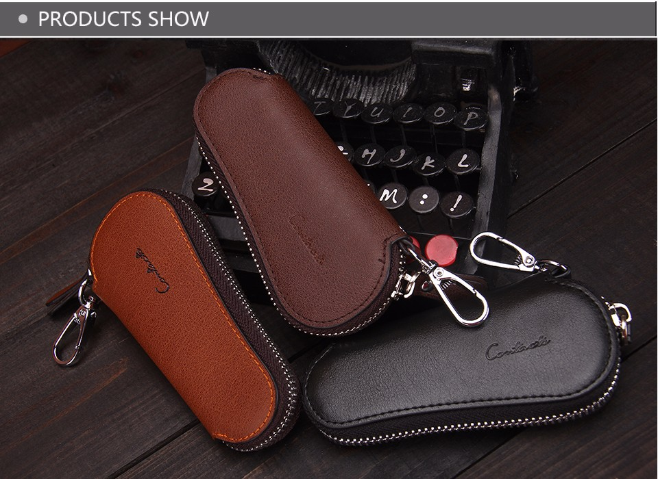 محفظة مفاتيح للرجال من الجلد الطبيعي 7