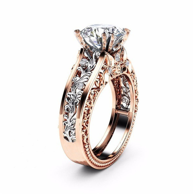 ROXI CZ Stone Ring Jewelry Bague Femme Fashion Rose Gold Color Leaf Crystal Wedd