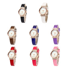 2017 NEW Arrival 8 Colors Women Cute Design Leather Band Analog Alloy Quartz Wrist Watch Girls relogio Wholesale& Dropshipping