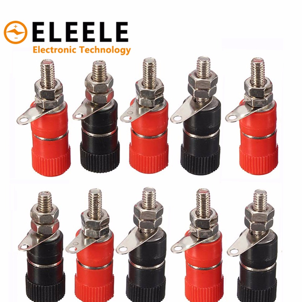 10pcs 4mm Red&Black Banana Socket Professional Binding Post Nut Banana Plug Jack Connector Nickel Plated For 4mm Banana Plug 35 цена