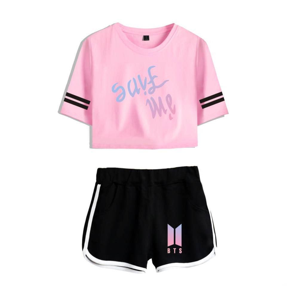2019 BTS KPOP Summer Dew Navel Women Set 2018Cotton Korean Version Casual  Movement Trend Shorts Short Sleeved T Shirt Letter Printing From Wqasysos,