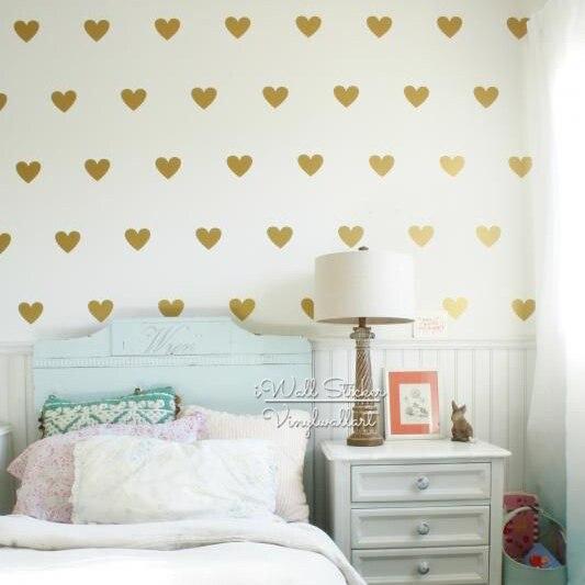 Nálepka na stěnu se zlatým srdcem, obtisky na stěnu, obklady do obývacího pokoje, malé samolepky na stěnu do vinylu pro děti, dům Decor P9