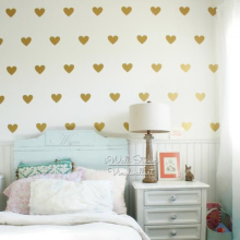 Golden Hearts Wall Sticker Love Heart Decal DIY Gold Easy Art Decors Cut Vinyl Stickers P9-1