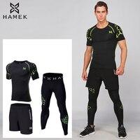 3PCS Men Survetement Football Running Sets Sports Shirts Basketball Soccer Fitness GYM Tights Shorts Pants Leggings Reflective