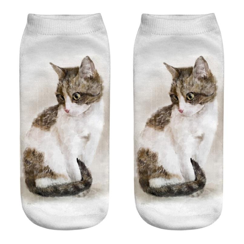 Unique design Cat 3D Printing Socks Cute Women Work Business Cotton Funny Sock Medium Sports Socks Comfortable #2s29 (1)